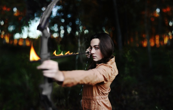 Picture look, girl, mood, fire, flame, brunette, bow, arrow, bokeh