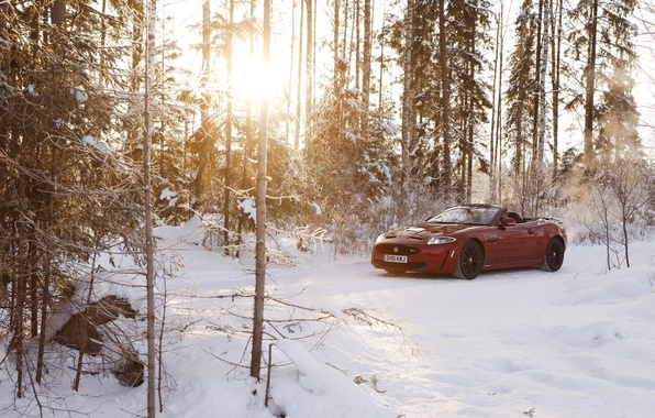 Picture winter, forest, the sun, snow, red, Jaguar, Jaguar, convertible, Convertible, XKR-S