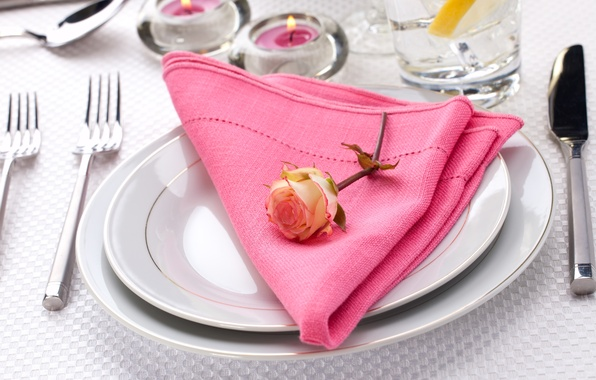 Picture flower, table, rose, candles, knife, plates, napkin, fork, serving