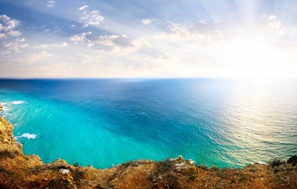 Picture The sun, The sky, Nature, Clouds, The ocean, Sea, Rocks, Landscape