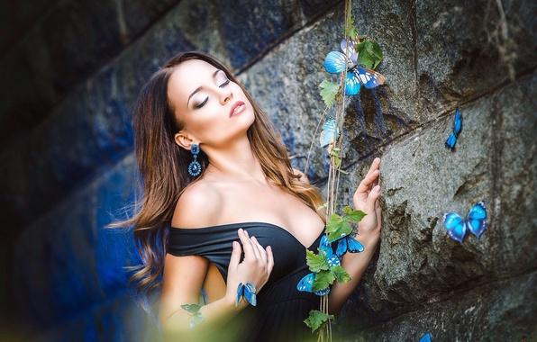 Picture girl, butterfly, wall, model, dress, brunette, photographer, girl, beauty, model, Marica, Angelina, Angelina Petrova, Alla …