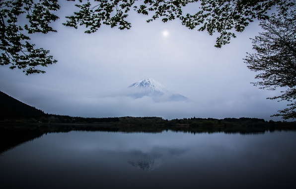 Picture the sky, clouds, lake, mountain, the volcano, Japan, Japan, Fuji