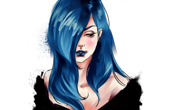 Picture figure, Girl, blue hair