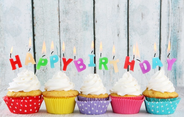 Picture birthday, candles, colorful, cream, Happy Birthday, cupcakes, candles, cupcakes