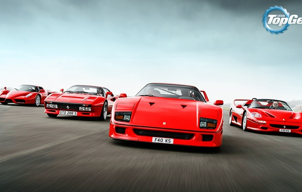 Picture Top Gear, Ferrari, Red, F40, Enzo, Front, Supercars, Track, Italian, F50, 288 GTO