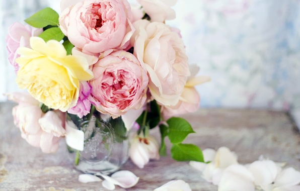 Picture flowers, roses, bouquet, yellow, petals, Bank, vase, pink, peonies