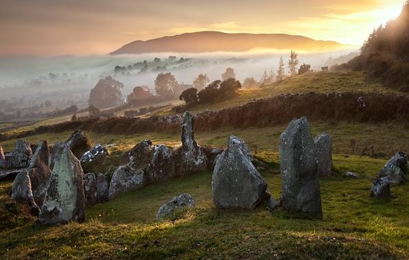 Picture autumn, trees, nature, fog, stones, hills, England
