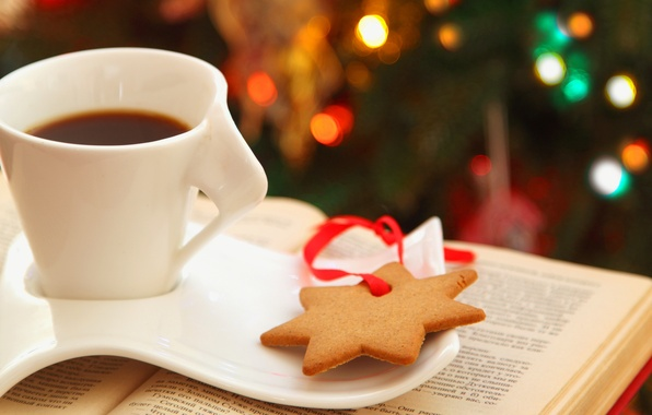 Picture lights, tea, star, coffee, cookies, Cup, book, saucer, asterisk, bokeh