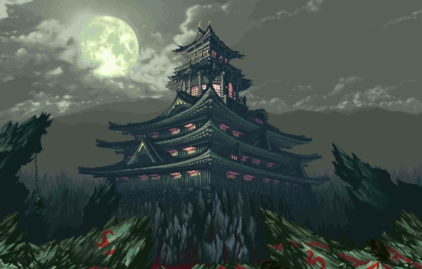 Picture clouds, light, mountains, rocks, The moon, Temple, 8-bit