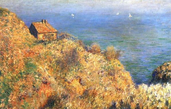 Picture sea, landscape, house, rocks, boat, picture, sail, Claude Monet
