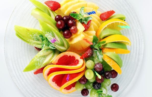 Picture lemon, apple, Apple, kiwi, strawberry, grapes, lemon, fruit, pineapple, banana, mint, grapefruit, dish, banana, grapes, …