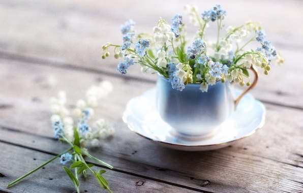 Picture texture, mug, lilies of the valley, forget-me-nots
