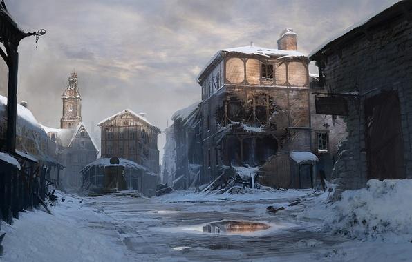 Picture winter, the city, figure, art, devastation