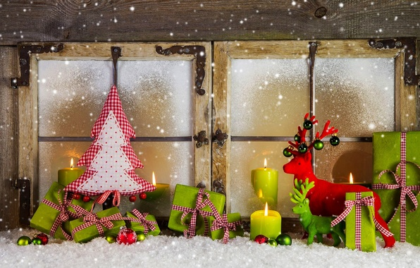 Picture winter, snow, decoration, holiday, balls, tree, candles, window, New year, Happy New Year, balls, box, …