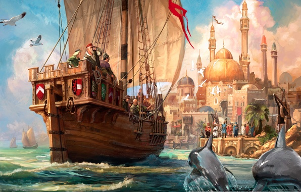 Picture wave, ship, Marina, seagulls, dolphins, mosque, Paint, journey, Anno 1404, trade, arrival