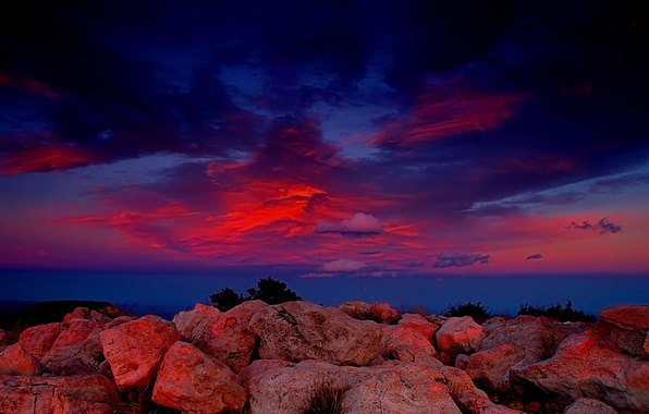 Picture clouds, red, Stones
