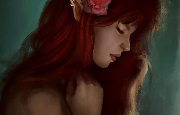 Picture flower, girl, elf, rose, art, profile, red, elf, ears