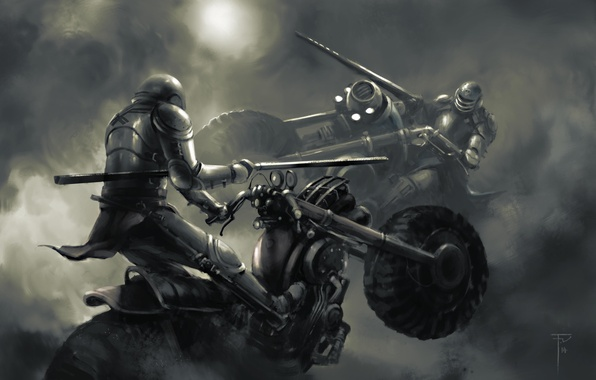 Picture motorcycles, art, haze, knights, peaks, the fight