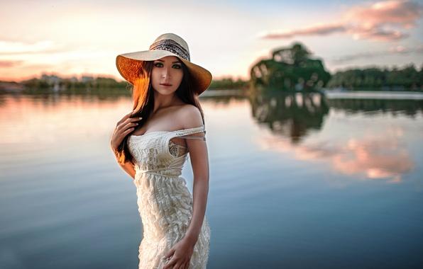 Picture girl, nature, hat, bokeh, Natasha, George Chernyadev, Sunset in Tsaritsyno, Natalia Rubanova