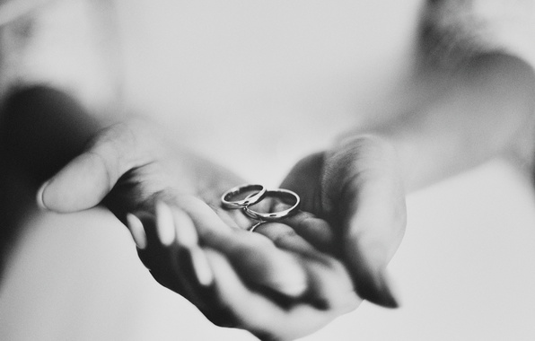 Picture ring, hands, black and white, wedding