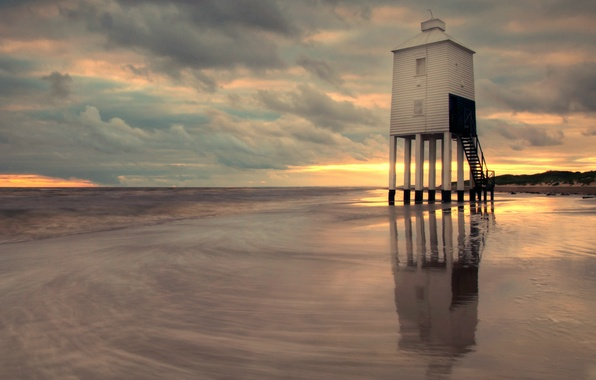 Picture sea, the sky, clouds, sunset, clouds, shore, lighthouse, England, the evening, UK