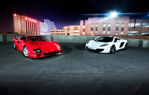 Picture white, night, red, the city, lights, Ferrari, Parking, Ferrari, supercar, F40, sports car, classic, McLaren …