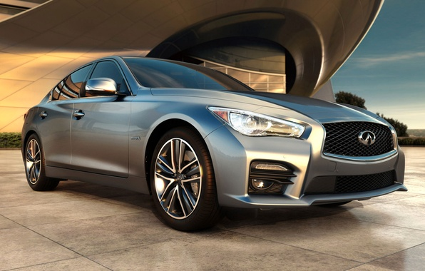 Picture the building, Infiniti, emblem, sedan, Q50