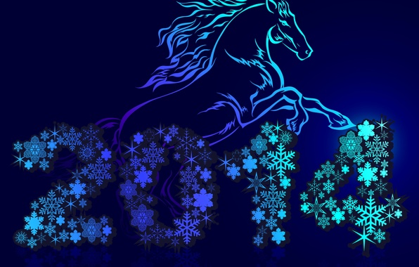 Picture snowflakes, holiday, horse, New year, blue background, 2014