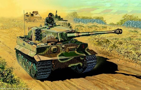Picture tiger, war, figure, tank, Tiger, heavy, tanker, German