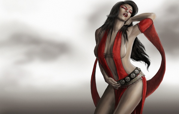 Picture girl, pose, tape, grey background, Prince of Persia, Kaileena, Empress of Time