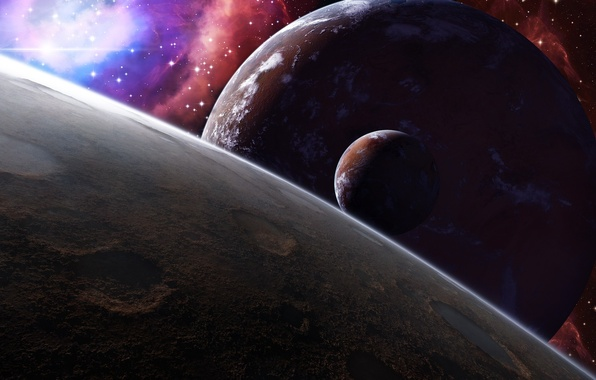 Picture space, stars, surface, the moon, planet, satellite