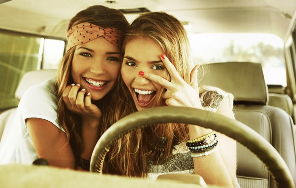 Picture joy, smile, girls, beautiful, fun, Sandra Kubicka