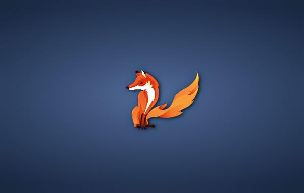 Picture minimalism, Fox, firefox, fox, blue background