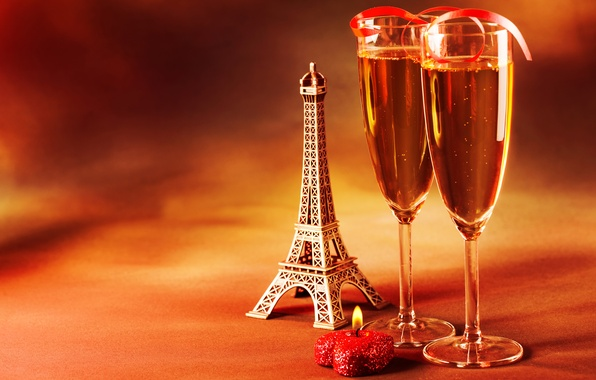 Picture mood, holiday, heart, candle, glasses, figurine, Eiffel tower, champagne, La tour Eiffel