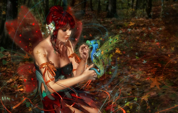 Picture forest, girl, dragon, wings, fairy, red, 3d art