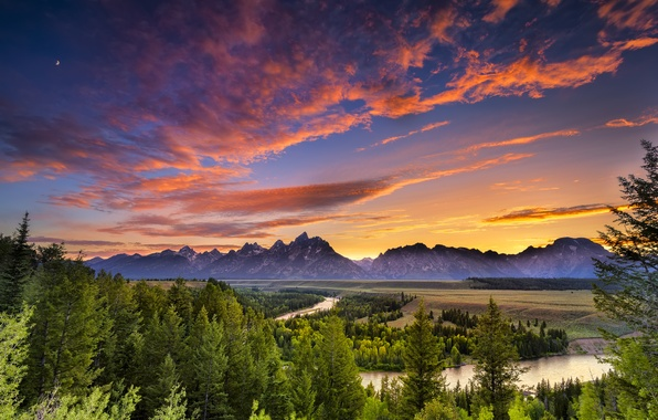 Picture forest, the sky, trees, sunset, mountains, river, the evening, Wyoming, pine, USA, USA, Wyoming, national …