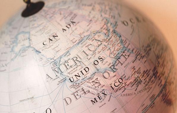 Picture the world, map, Canada, America, globe