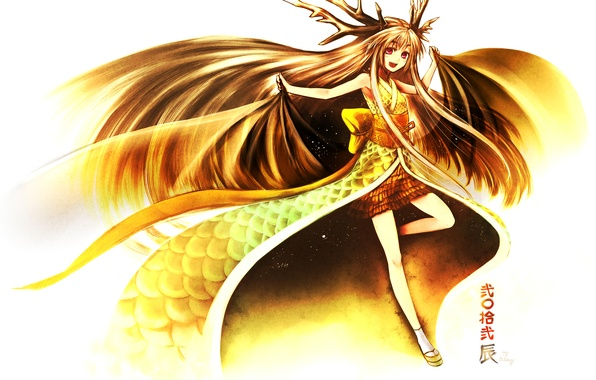 Picture girl, joy, hair, wings, anime, art, horns, kimono, kotoba noriaki