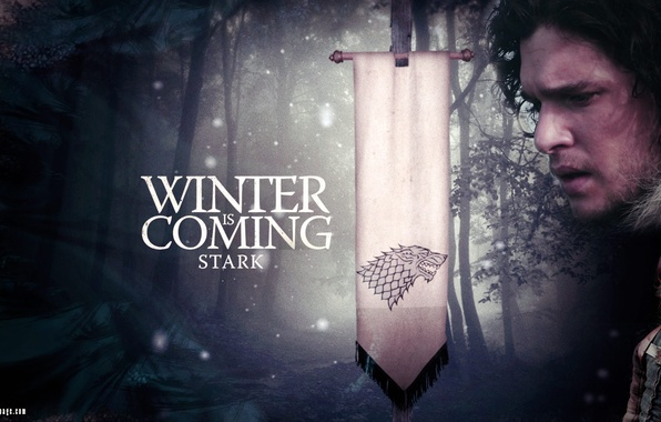 Picture winter, snow, wolf, flag, motto, Game of Thrones, Game of thrones, Jon Snow, Bran, Stark