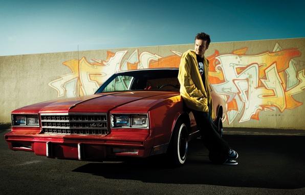 Photo wallpaper chevrolet, the series, Aaron Paul, classic, graffiti, car, red, machine, breaking bad, aaron paul, brba, ...