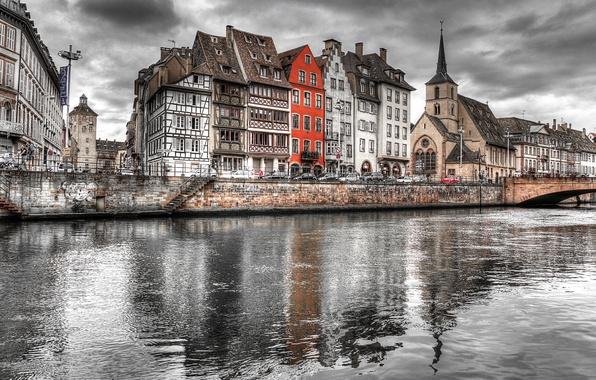Picture bridge, river, paint, France, home, Strasbourg