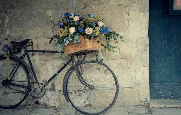 Picture flowers, bike, wall, basket, roses, box