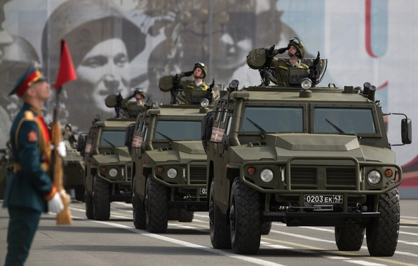 """Picture car, red square, Russian, multipurpose, armored car, high, patency, """"Tiger"""", GAZ-2330"""