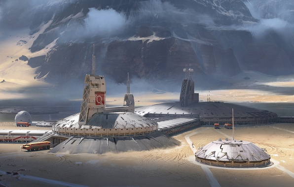 Picture mountains, fiction, rocks, planet, base, colony