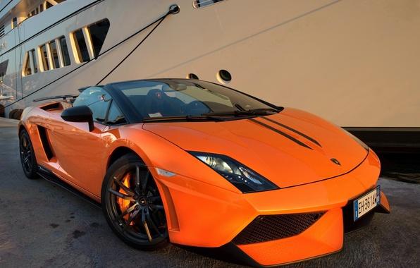 Picture Lamborghini, Gallardo, supercar, Spyder, front, orange, LP570-4, Performante