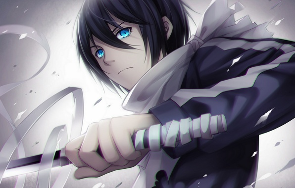 Picture weapons, katana, anime, art, guy, bandages, tidsean, yato, Noragami