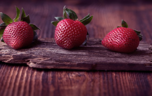 Picture berries, Macro, Red, Strawberry, Three, Background, Board, Beautiful background
