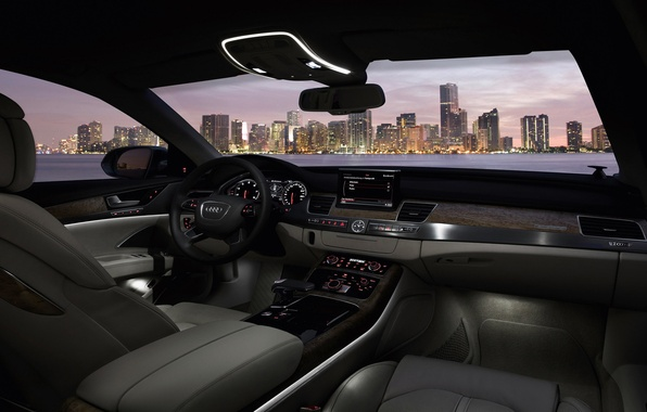 Picture night, the city, darkness, tree, Audi, Audi, leather, salon, A8 2012