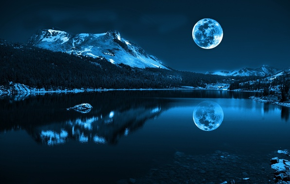 Picture sea, water, snow, landscape, mountains, nature, reflection, river, stones, the moon, Shine, the evening, cool