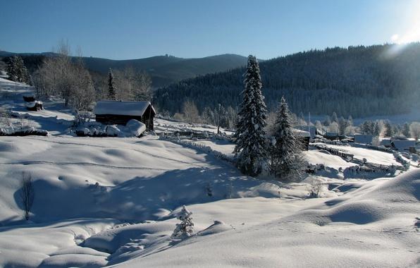 Picture winter, light, snow, landscape, nature, home
